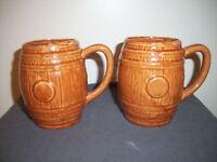 2 Yellow Ware Brown Barrel Mugs Beer Coffee Glaze Pottery Stein Mug VTG