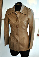 Gorgeous Censor Camel Leather Buttoned Jacket Tailored Ribbed Design Sz 8 (AU)