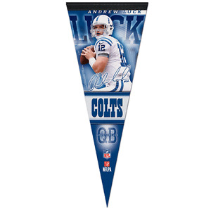 """ANDREW LUCK INDIANAPOLIS COLTS ROLL UP FELT PREMIUM PENNANT 12""""x30"""" NEW WINCRAFT"""