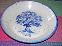 Large Handcrafted Somerset County PA Pottery Gray with Blue Deep Dish