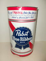 "Vintage Pabst Blue Ribbon Beer Breweriana Collectible Metal Trashcan 15""x9"""