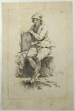 Jean-Baptiste Marie Pierre 1714-1789 Etching Seated Boy Not Dated 18th Century