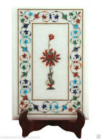 """15""""x10"""" White Marble Table Top Marquetry Inlay Special Gift For Christmas Decor"""