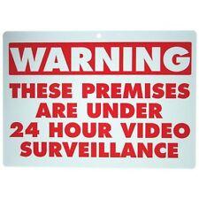 NEW VIDEO SURVEILLANCE WARNING SECURITY SIGN UNDER 24 HOUR CCTV SURVEILLANCE