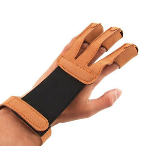 Archery Recurve Bow Arrow Hunting Shooting Three Finger Protect PU Leather Glove
