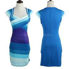 Unbranded Mini V-Neck Striped Dresses for Women