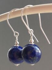Beautiful Large Round Lapis Lazuli Gemstones Sterling Silver Drop Earrings