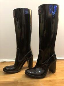 Mei Patent Gloss Black Rubber Rain Riding Knee High Boots Uk 4 Eu 37 Us 7 Shiny
