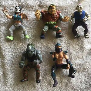 VNTG 1989 Teenage Mutant Ninja Turtles 5 Figures Casey Jones, Usagi, Traag, Rock