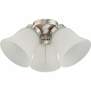 Westinghouse LED Brushed Nickel 3-Light Ceiling Fan Kit Ribbed Glass 77849