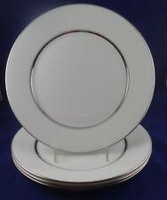 4 Bone China Dinner Plates in Oxford Lexington Pattern White/Platinum