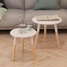 Small Round Side Tables Vintage Retro Furniture 2 Wooden White Table End Oak Leg