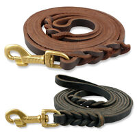 Luxury Real Thick Leather Braided Dog Leash With Gold Hook for Dogs Medium Large