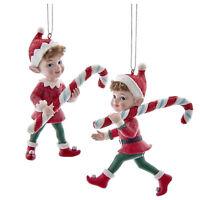 Set/2 Kurt Adler Candy Cane Elf Elves Christmas Tree Ornaments Retro Vntg Decor