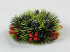 """Plastic Christmas Candle Holders Ring Wreath, Holly Pine Cones Greenery 5 1/2"""""""