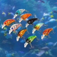 9pcs/bag Plastic Fishing Lures Hook Bass Small Fat Crankbait Kit Tackle 4.5cm/4g