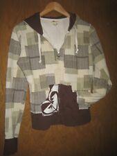 Roxy Medium Hooded Zip Front Sweatshirt Brown Beige Cream Hoodie Geometric Print