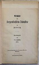 Zabel Geschichte der Serpentinstein-Industrie zu Zöblitz 1890 Sachsen Ortskunde