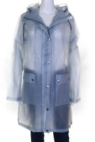 Ilse Jacobsen Womens Hooded Zip Up Clear Raincoat Smoke Blue Size EUR 40