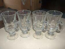 "Set of Four (4) Clear Glass 6"" Tall Irish Coffee Mugs"