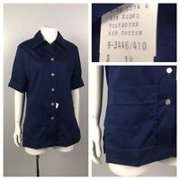 Vintage NOS 1960s 1970s Navy Blue Button Up Smock Blouse Top Shirt Unworn M
