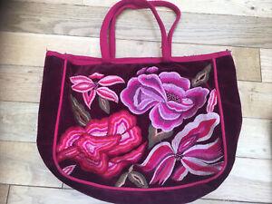 Burgundy Velvet Embroidered Flowers Shoulder Bag Accessorize Used Pink Lining