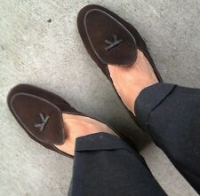 Mens Suede Leather Moccasin Gommino Flats Slip on Loafers Belgian Dress Shoes SZ