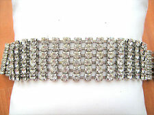 Vintage wide sparkling Rhinestone Bracelet size 7-1/4th inches long