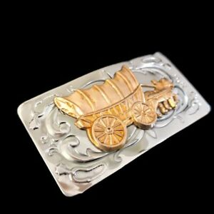 """Vintage Covered Wagon Western Cowboy Belt Buckle Chambers Horses Small Size 3.5"""""""