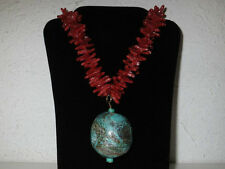 Kenneth Lane Turquoise & Faux Red Coral Necklace