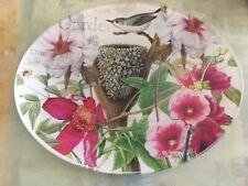 Michel Design Works Oval Round Glass Soap Dish Jewelry Tray Flowers and Bird