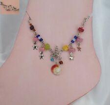 Bracelet  Cheville Chevillère Marley Perles Murano Blanc Rouge  Argent d'alpaga