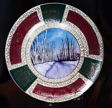 """Antique Royal Vienna 8"""" Cabinet Plate Hand Painted Winter Scene Unsigned"""