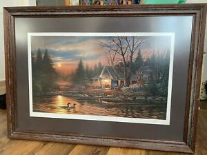 "Terry Redlin ""Quiet of the Evening"" signed numbered framed lithograph non-glare"