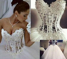 New White/Ivory Wedding Dresses Ball Bridal Gown Custom Size2+4+6+8+10+12+14+16+