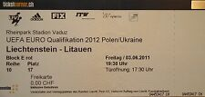 TICKET 3.6.2011 Liechtenstein - Litauen Lithuania