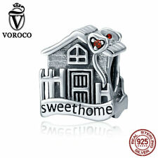 VOROCO Sweet Home Charm Fit For European Charms Bracelet 925 Silver Fine Jewelry