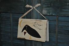 Primitive Handpainted Book Crow Hollow Homespin Fabric Hanger Folk Art
