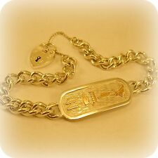 "Silver Egyptian Cartouche Pendant on 8"" Silver curb link Bracelet"