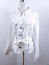 STREET ONE Women's Vtg Retro Fashion Style Casual White Linen Jacket sz 18 BC94