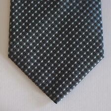 NEW Compagnia Della Seta Silk Neck Tie Metallic Blue wit Black Pattern 1563
