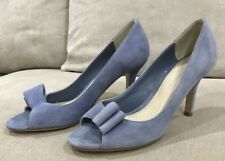 Like New Ladies Shoes David Lawrence Bow Heel Blue Suede Shoes Size 39 RRP $169