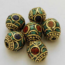 Turquoise Coral Lapis Brass 6 Beads Nepalese Tibetan Handmade Tibet Nepal AC1851