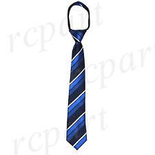 New Kids Boys Zipper up Adjustable Pre-tied Necktie navy blue Stripes formal