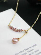 Natural Fresh Water Pearl 14k Gold Pleated Pendant Necklace Choker Chain Fashion
