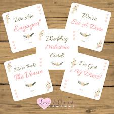 WEDDING Milestone/Journey Cards x20-Shabby Chic Flowers Pink Hearts- Engagement