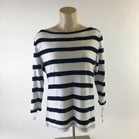Ralph Lauren Sweater Top Pullover Boat Neck Striped Cotton White Black Womens L