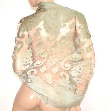 STOLA VERDE 50% SETA coprispalle scialle foulard ricamo velato elegante A10