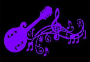 Mandolin with Musical Staff Decal Car Vinyl Music Musician Sticker
