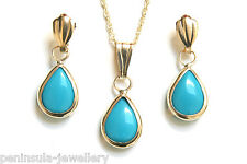 9ct Gold Turquoise Teardrop Pendant and Earring Set Gift Boxed
